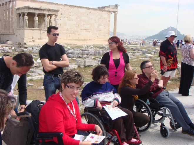 photo of wheelchair users visiting the Acropolis