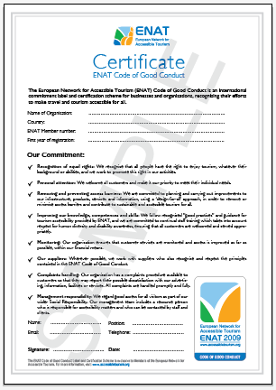 Sample of ENAT Code of Good Conduct Certificate.