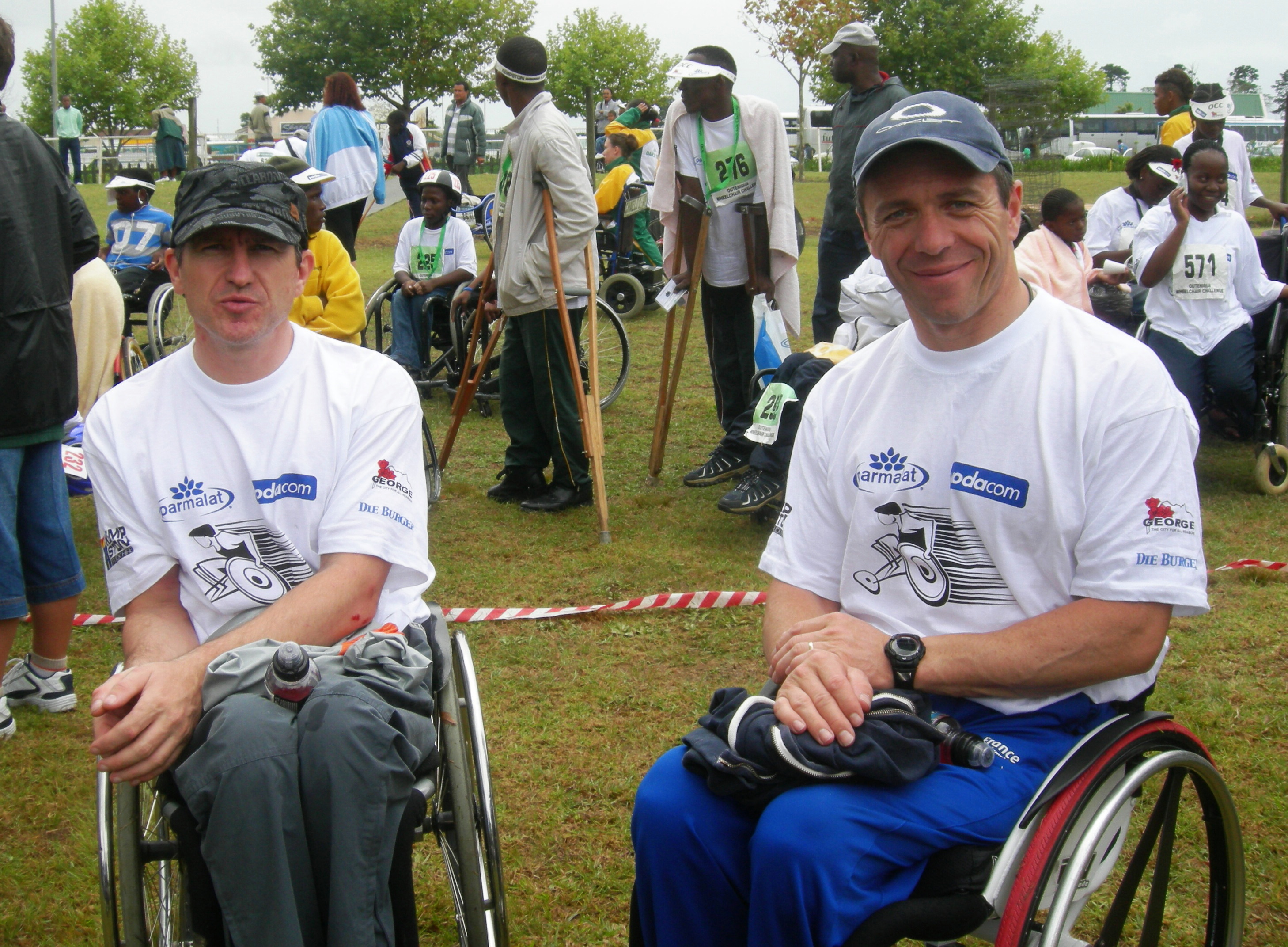 Photo of wheelchair race winners