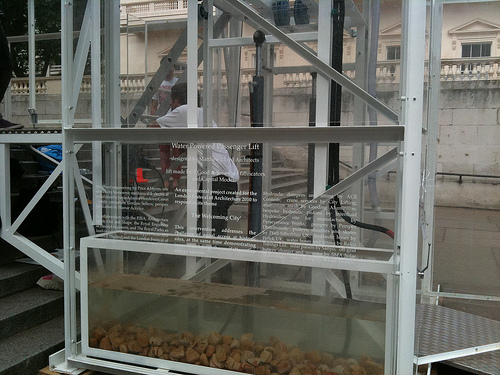 Photo of water-powered lift, close-up. By Sofia Gkiousou.