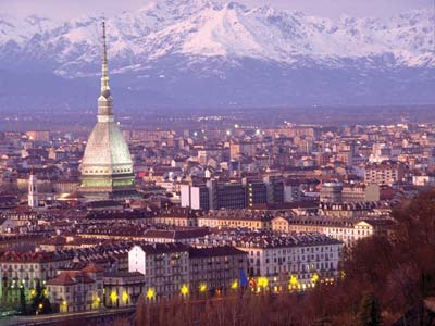 Photo with view of Turin