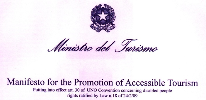 Title header of the Italian accessible tourism Manifesto