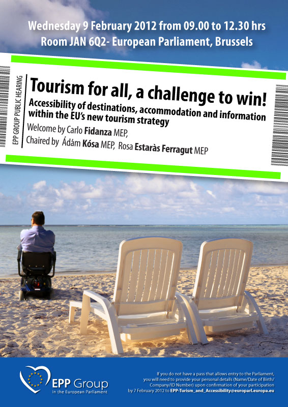 Image with announcement of the hearing on accessible tourism