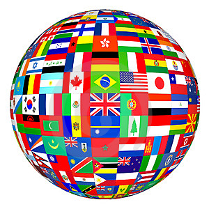 Image of globe covered in national flags