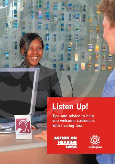 Cover image of Listen Up booklet with receptionist and hearing loop sign