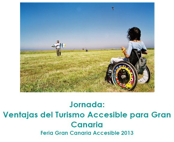banner image Gran Canaria accessible tourism day, child in wheelchair flying a kite