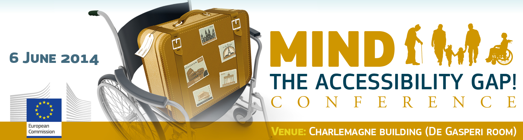 EU Conference, 6 June 2014, Mind the Accessibility Gap banner, with wheelchair and suitcase