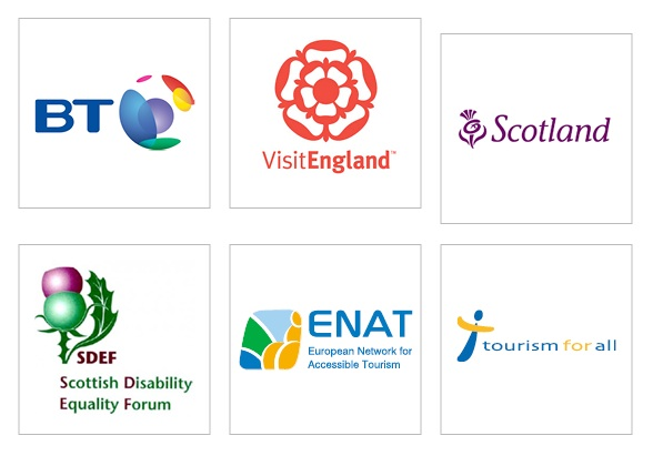 Disability Access Day 2015 supporters' logos, BT, ViistEngland, Scotland, Scottish Disability Equality Forum, European Network for Accessible Tourism (ENAT) and Tourism for All UK