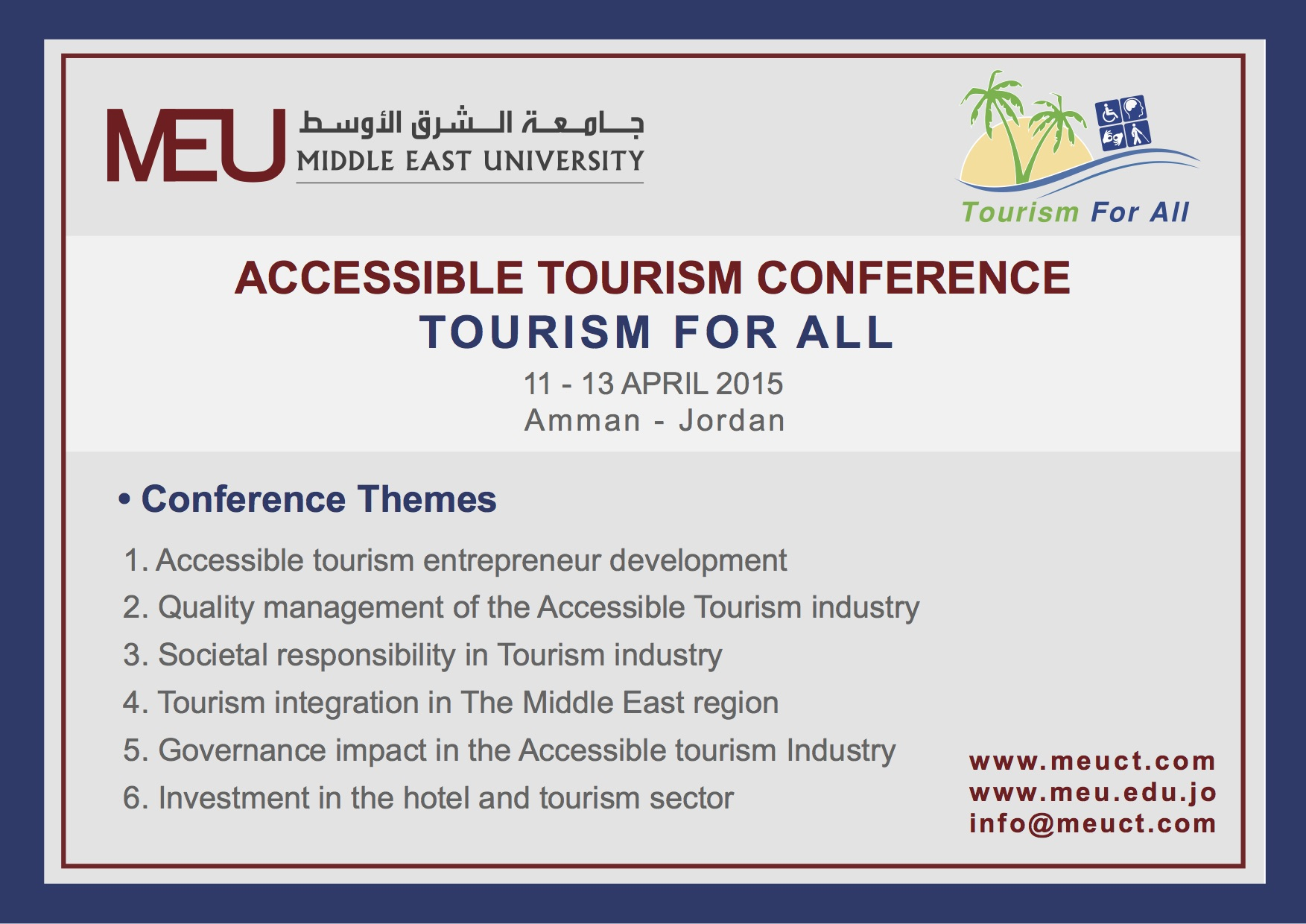 MEU Tourism for All conference themes banner (6 points, as listed above)