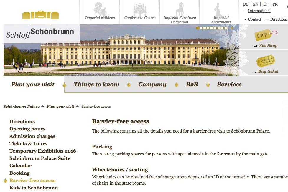 Image of Schloss Schönbrunn, Vienna, Website. Barrier-Free Access page