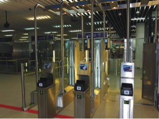 Photo of e-gate at airport border control point