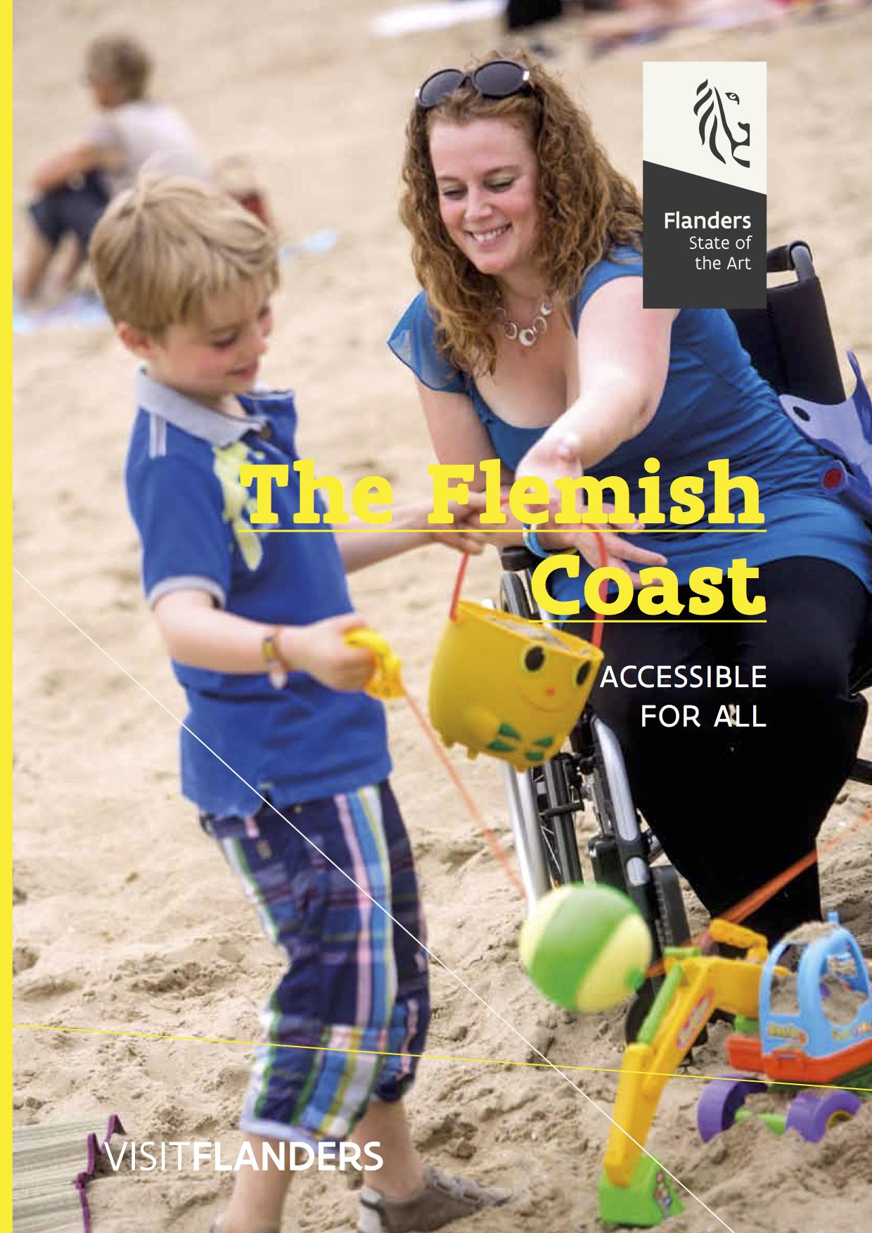 The Flemish Coast - cover image, wheelchair user and child on beach play with sand toys