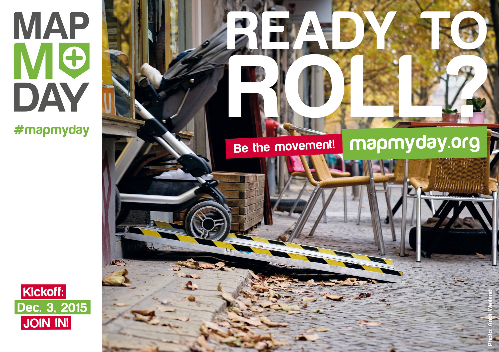 MapMyDay image of pushchair exiting building on temprorary ramp
