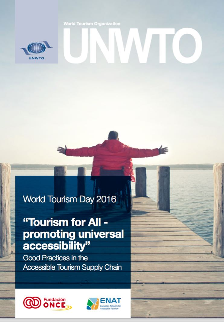 Cover illustration with wheelchair user on wooden jetty, arms wide open