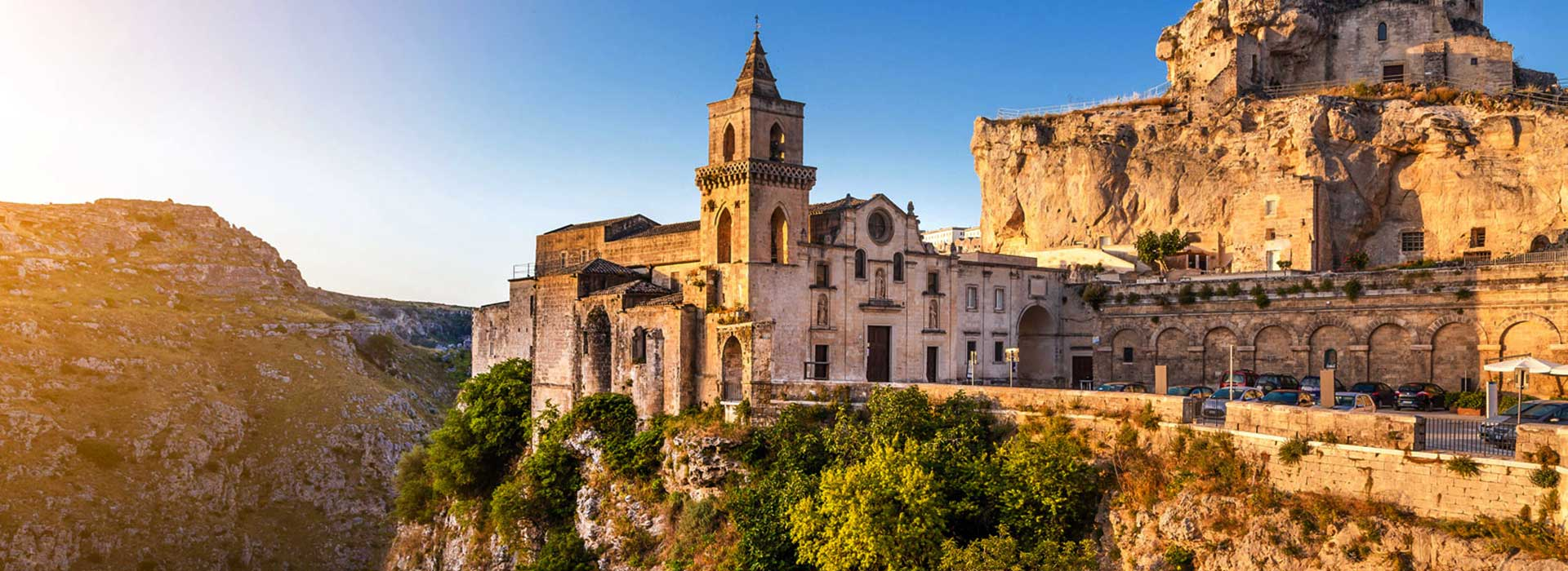 View of church on mountain, Matera, Italy
