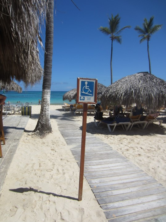 Image of Blue Flag accessible beach with palm trees, sunshades, sand and access route with signage