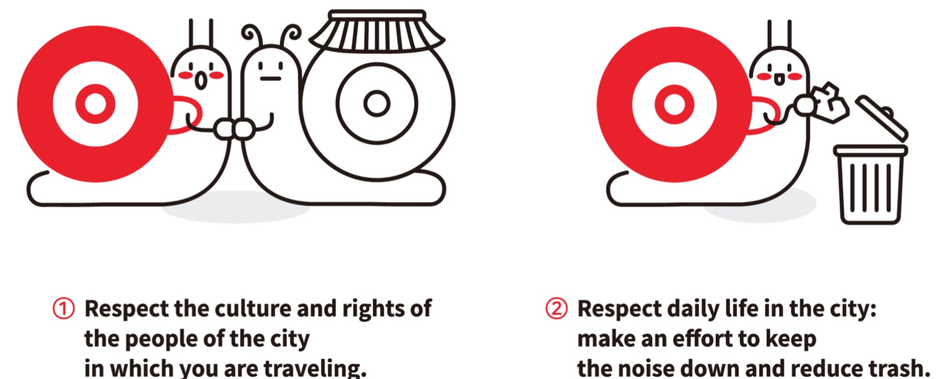 Fair travel campaign image with two snails