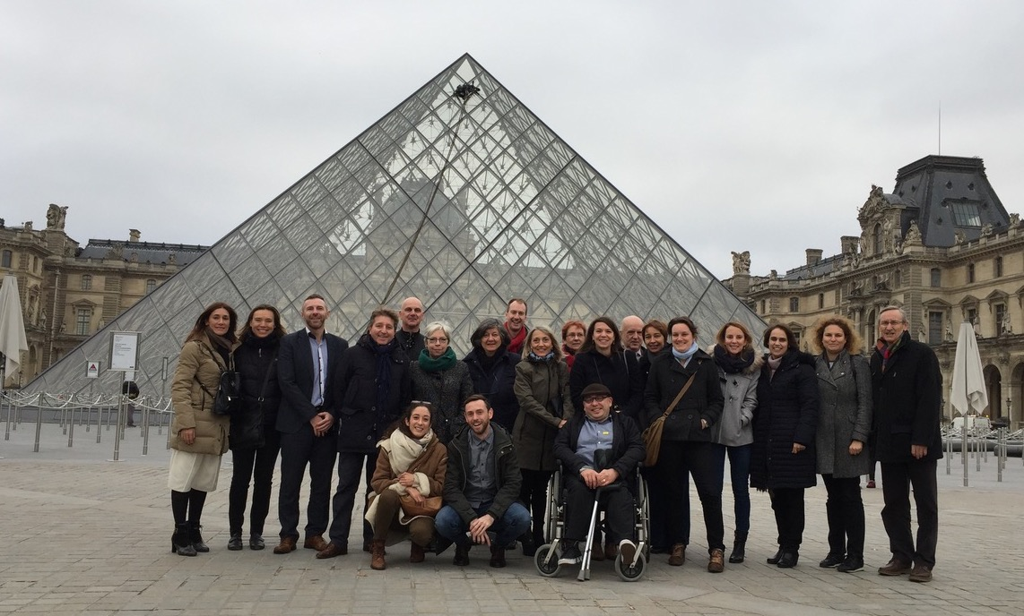 ENAT NTOs' Learning Group photo outside entrance of Louvre Museum, Paris, 2017