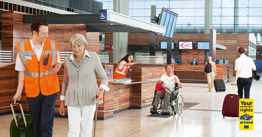 Image of PRM assistance for a senior in terminal building