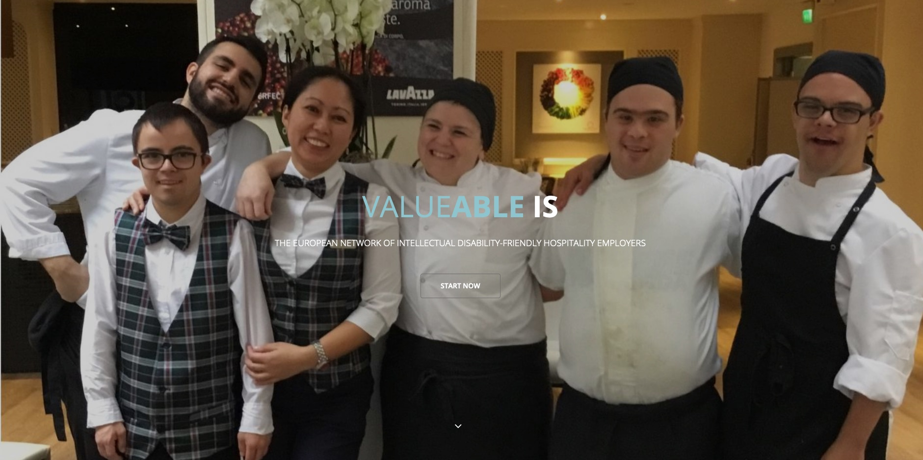 Screenshot of valueable.eu website showing hospitality and catering staff in uniform