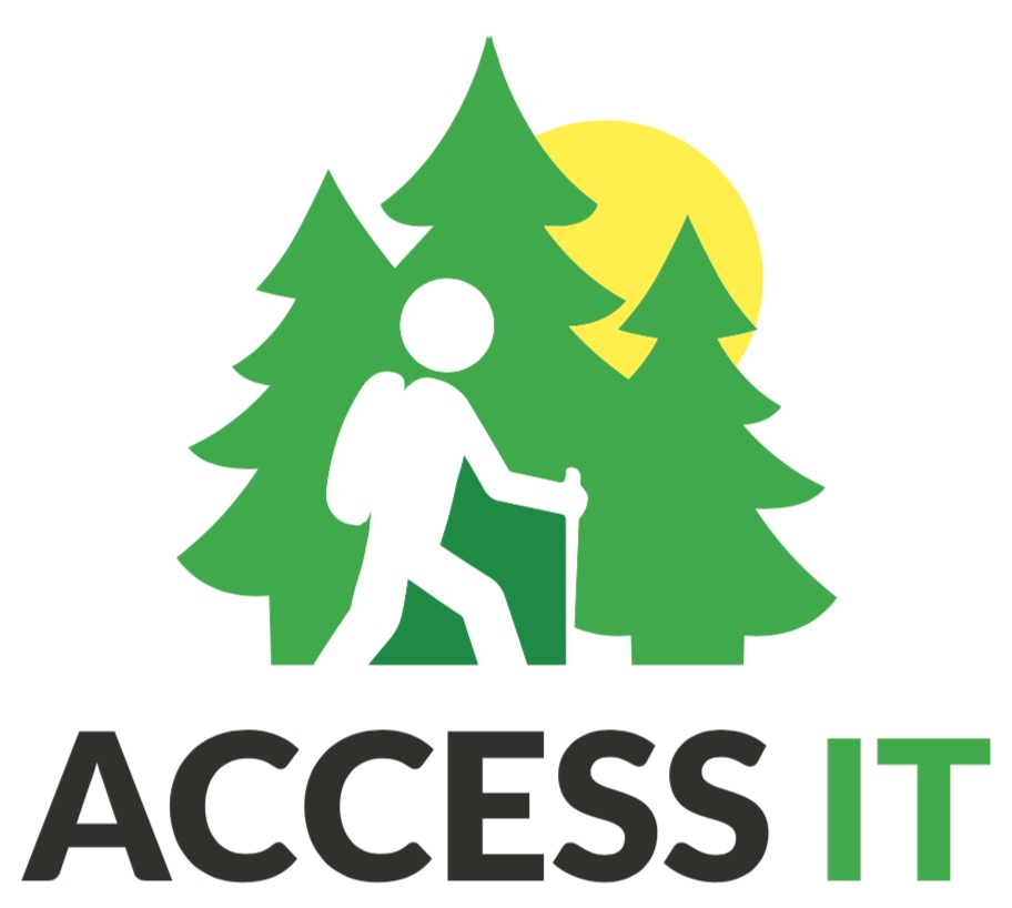 logo of ACCESS-IT with figure of walking person with backpack and walking stick, three pine trees and sun