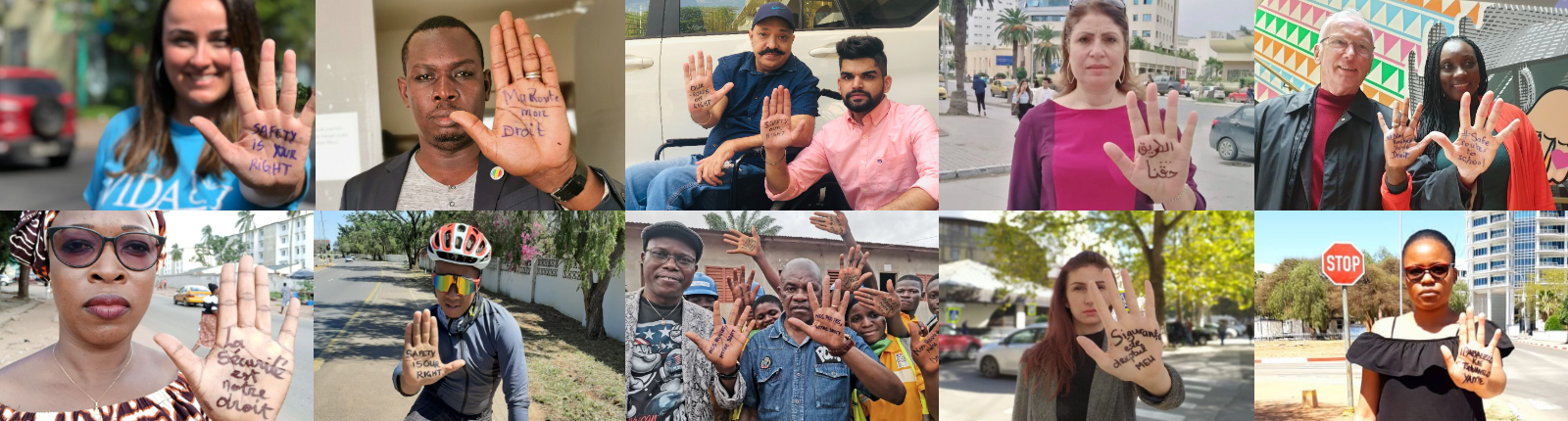 people of different colours and gender showing palm of hand with writing Safety is our right